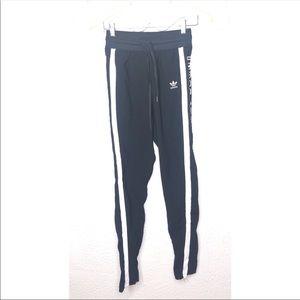 Adidas black and white three stripes pants XS